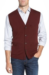 Nordstrom Shop Merino Button Front Sweater Vest Burgundy Royale