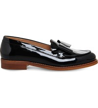 Office Present Bow Patent Leather Loafers Black Patent Leather