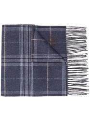 Canali Checked Winter Scarf Blue