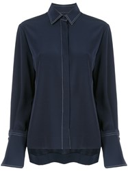 Co Pleated Detail Shirt Blue