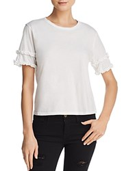 Michelle By Comune Ruffle Sleeve Tee Off White