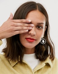 Monki Drop Earrings With Faux Pearl In Gold Gold