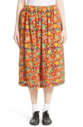 Comme Des Garcons Women's Floral Embroidered Midi Skirt