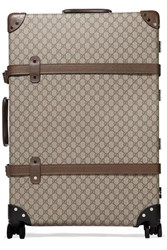 Gucci Globe Trotter Large Leather Trimmed Coated Canvas Suitcase Brown