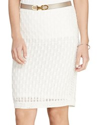 Lauren Ralph Lauren Honeycomb Cotton Pencil Skirt White