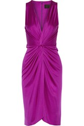 Cushnie Et Ochs Gathered Silk Satin Dress Violet