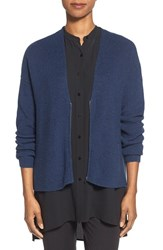 Women's Eileen Fisher Zip Front Merino Wool Cardigan Blue Bonnet