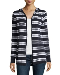 Minnie Rose Hooded Cotton Blend Striped Cardigan Blue Marine White