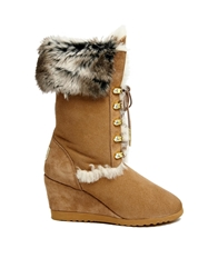 Love From Australia Wedge Nova Boots With Faux Fur Caramel