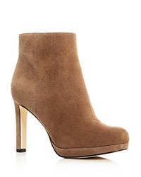 Via Spiga Bettie Platform High Heel Booties Dark Taupe