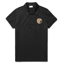Saint Laurent Appliqued Cotton Pique Polo Shirt Black
