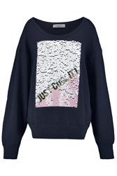Sandro Thiara Sequined Cotton Jersey Sweatshirt Blue