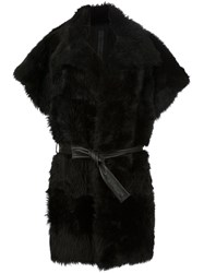 Gareth Pugh Belted Shearling Coat Black