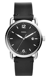 Fossil The Commuter Leather Strap Watch 42Mm Black Silver