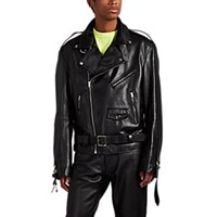 Vetements Oversized Buckle Detailed Leather Moto Jacket Black