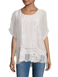Saks Fifth Avenue Lace Overlay Top Grey