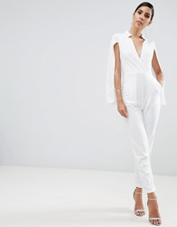 Ax Paris Deep V Caped Jumpsuit Cream