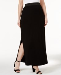 Inc International Concepts Plus Size Side Slit Maxi Skirt Only At Macy's Deep Black
