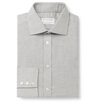 Kingsman Turnbull And Asser Cotton And Cashmere Blend Shirt Gray