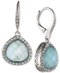 Jenny Packham Silver Tone Pave And Stone Drop Earrings