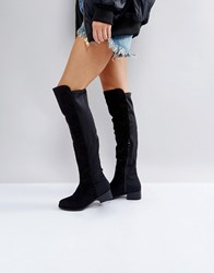 Truffle Collection Elastic Flat Over Knee Boot Black Micro