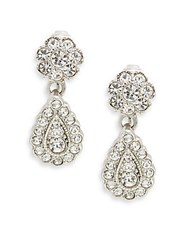 Kenneth Jay Lane Couture Collection Pave Drop Earrings Silver Crystal