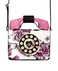Betsey Johnson Small Phone Crossbody White Floral Gold