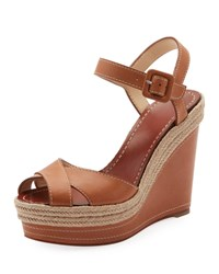 Christian Louboutin Almeria Wedge Red Sole Espadrilles Brown