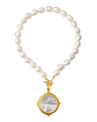 Dina Mackney Baroque Pearl Pendant Necklace White