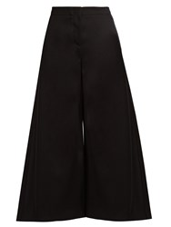 Roksanda Ilincic Tove Wide Leg Wool Twill Cropped Trousers Black