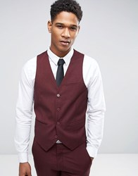 Only And Sons Skinny Waistcoat In Marl Burgundy Red