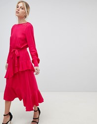 Morgan Dress With Frill Overlay Red