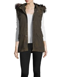 Belle Fare Canvas Cargo Vest W Fur Trim Army Green