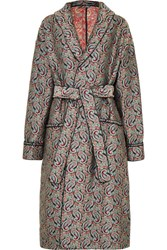 Alexachung Belted Jacquard Coat Blue Gbp