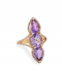 Diana M. Jewels 14K Rose Gold Amethyst And Diamond Ring 0.29Tcw