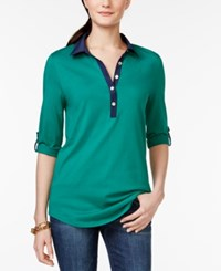 Tommy Hilfiger Solid Roll Tab Sleeve Tunic