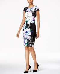 Connected Floral Print Ruched Sheath Dress Black Purple