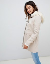 Miss Selfridge Duffle Coat With Faux Fur Trim Hood In Cream Beige