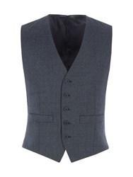 Alexandre Of England Men's Coleman Navy Jaspe Check Waistcoat Navy