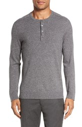 Vince Men's Trim Fit Cashmere Henley Heather Steel