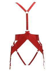 Bordelle Asobi Body Elastic Satin Harness Red