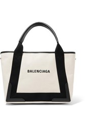Balenciaga Cabas Small Leather Trimmed Canvas Tote White