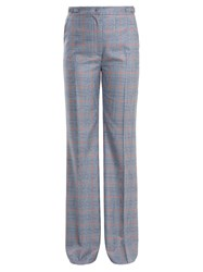 Gabriela Hearst Vesta Checked Wool And Silk Blend Trousers Blue Multi