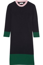 Chinti And Parker Color Block Ribbed Merino Wool Cashmere Blend Dress Navy