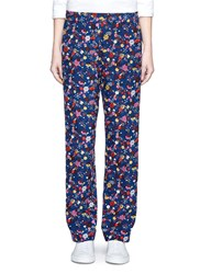 Kenzo 'Tanami' Flower Silk Georgette Pants Multi Colour