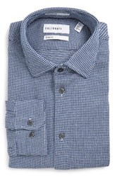 Calibrate Men's Big And Tall Trim Fit Non Iron Houndstooth Dress Shirt Navy Patriot
