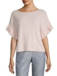 Saks Fifth Avenue Cashmere Ruffle Tee Heather Grey