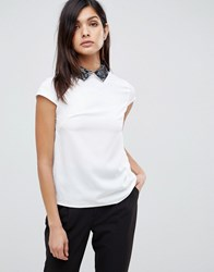 Vesper Short Sleeve Top With Contrast Collar White