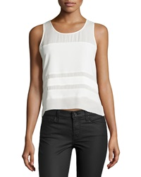 Parker Sleeveless Woven Contrast Trim Top Ivory