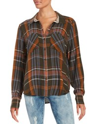 Free People Plaid Flannel Shirt Green